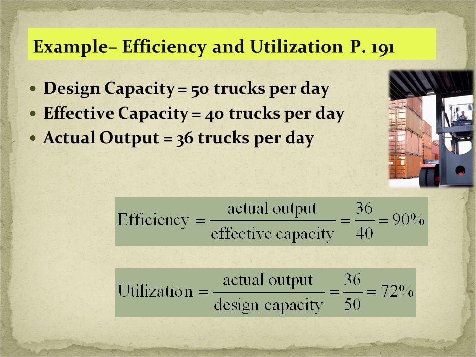 Example– Efficiency and Utilization P. 191 Design Capacity = 50 trucks per day Effective Capacity = 40 trucks per day Actual Output = 36 trucks per da