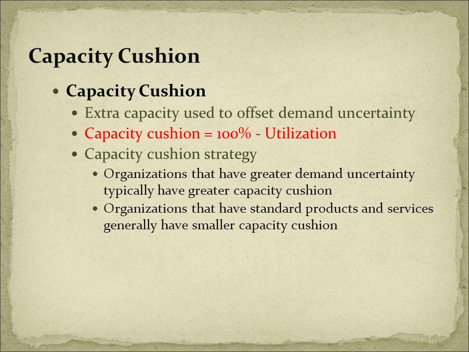 Capacity Cushion Extra capacity used to offset demand uncertainty Capacity cushion = 100% - Utilization Capacity cushion strategy Organizations that h
