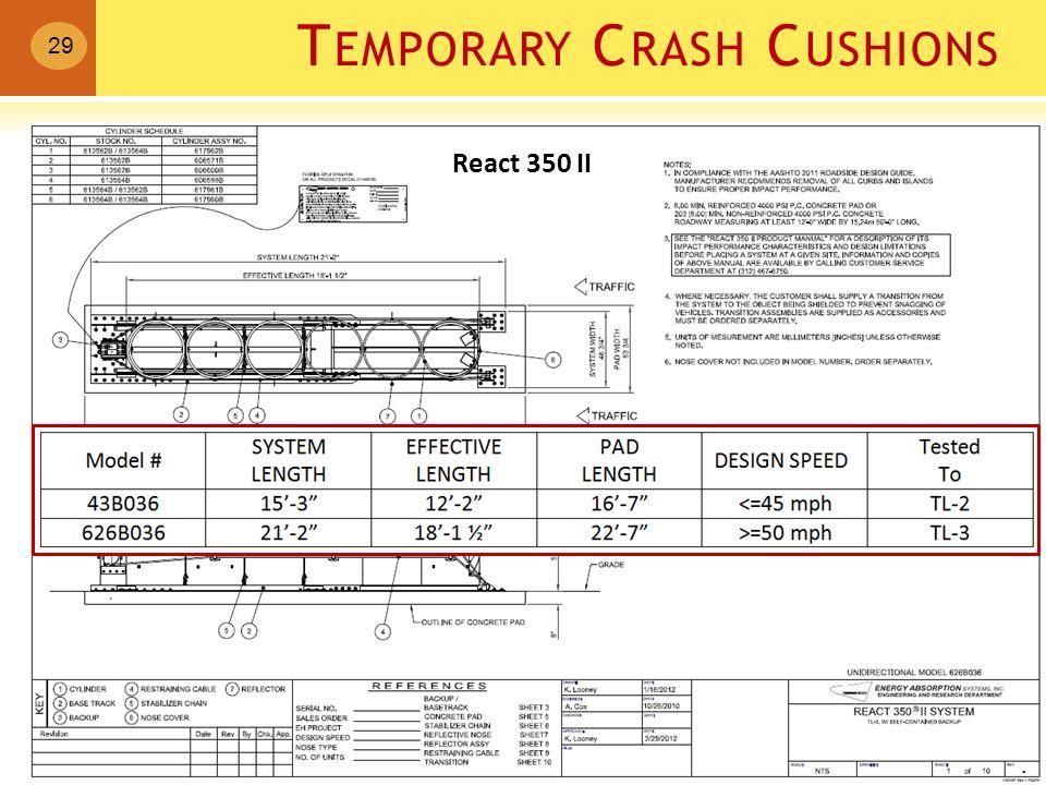 T EMPORARY C RASH C USHIONS 29 React 350 II