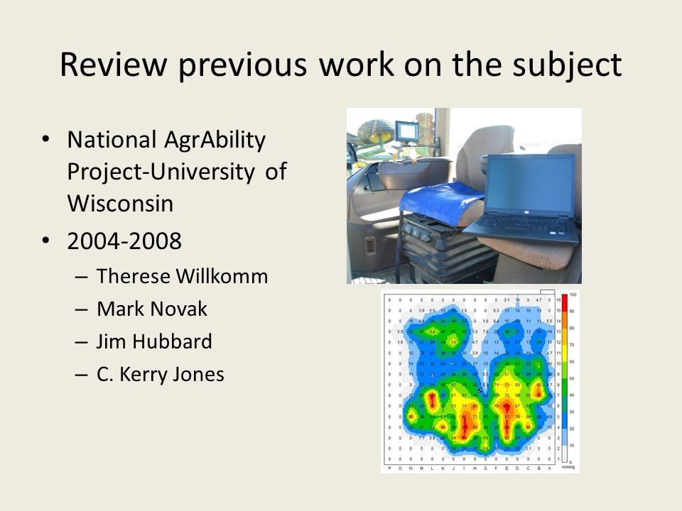 Review previous work on the subject National AgrAbility Project-University of Wisconsin 2004-2008 – Therese Willkomm – Mark Novak – Jim Hubbard – C.