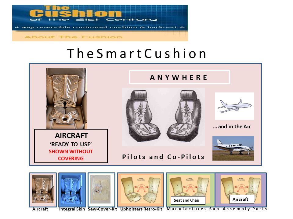 TheSmartCushion ANYWHERE AIRCRAFT 'READY TO USE ' SHOWN WITHOUT COVERING … and in the Air AircraftIntegral SkinSew-Cover-KitUpholsters Retro-Kit Manufactures Sub-Assembly Parts Seat and Chair Aircraft There Pilots and Co-Pilots