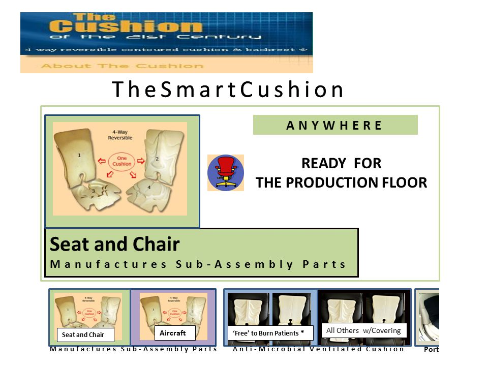 TheSmartCushion ANYWHERE Aircraft Manufactures Sub-Assembly Parts PortableAircraft ub-Assembly Parts Anti-Microbial Ventilated Cushion 'Free' to Burn Patients * All Others w/Covering Aircraft There READY FOR THE PRODUCTION FLOOR