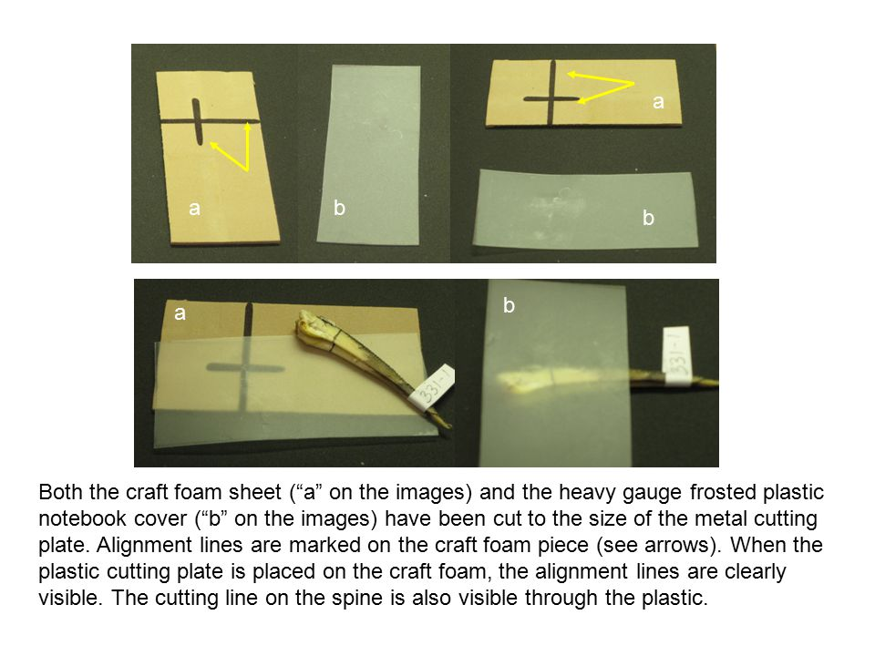 Both the craft foam sheet ( a on the images) and the heavy gauge frosted plastic notebook cover ( b on the images) have been cut to the size of the metal cutting plate.
