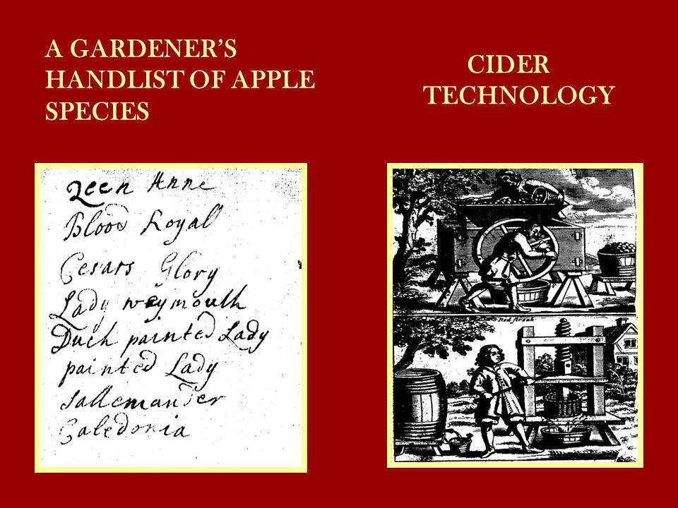 A GARDENER'S HANDLIST OF APPLE SPECIES CIDER TECHNOLOGY