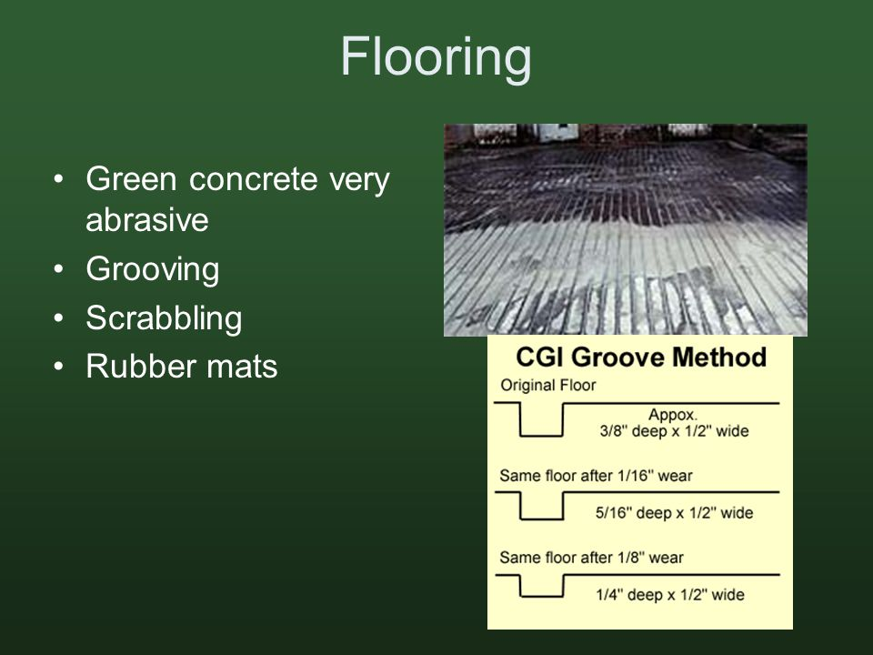 Flooring Green concrete very abrasive Grooving Scrabbling Rubber mats