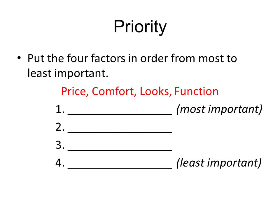 Priority Put the four factors in order from most to least important.