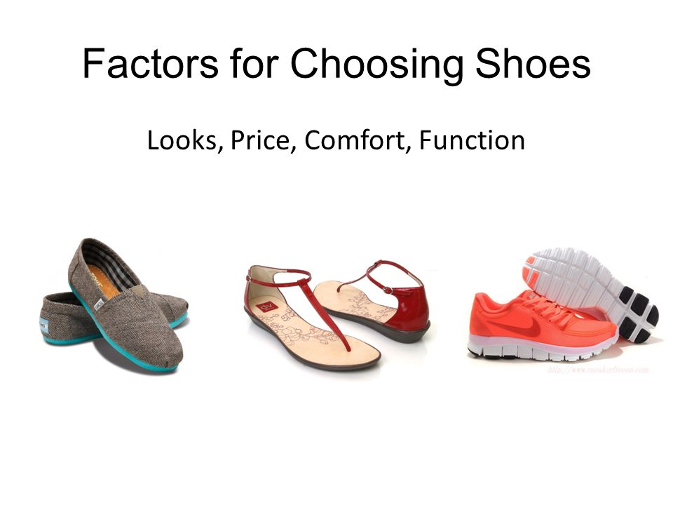 Factors for Choosing Shoes Discuss with your neighbors: What factors go into choosing a shoe?
