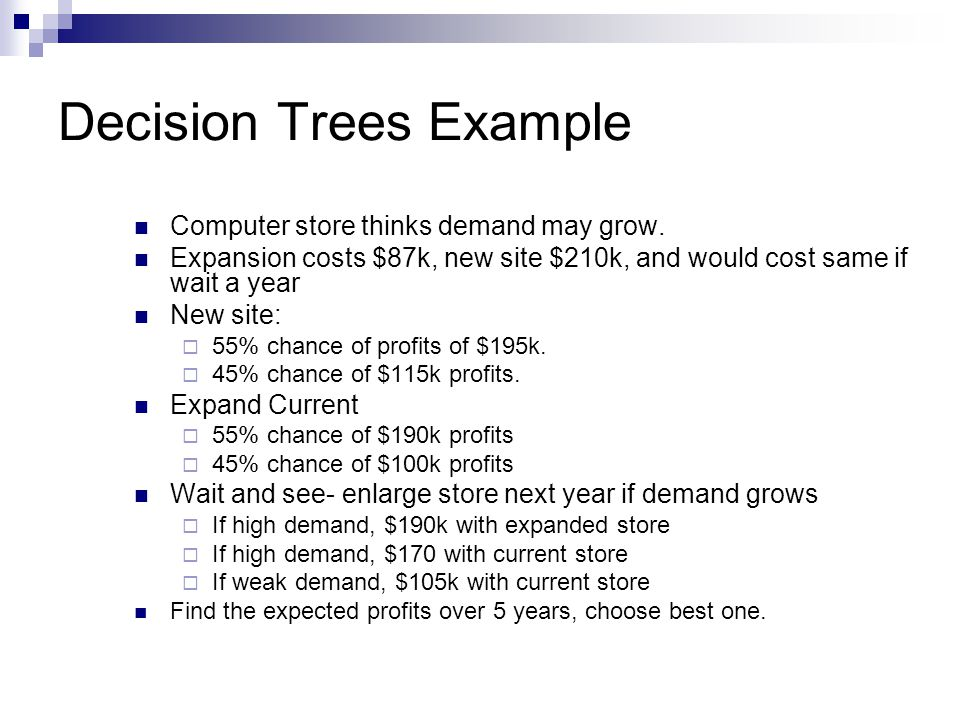 Decision Trees Example Computer store thinks demand may grow.