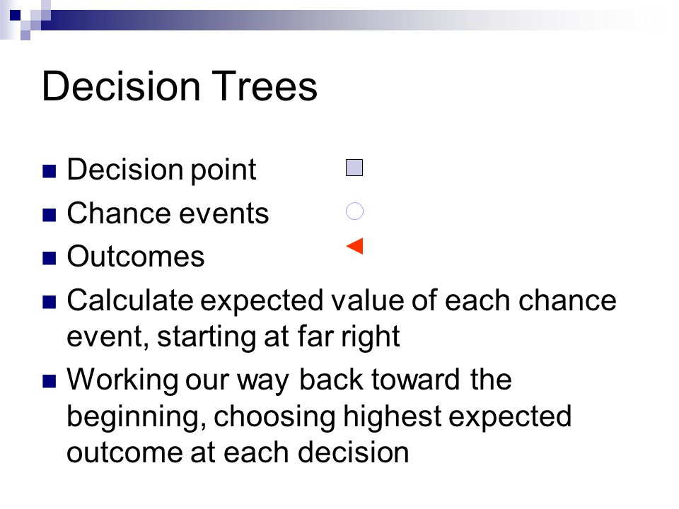Decision Trees Decision point Chance events Outcomes Calculate expected value of each chance event, starting at far right Working our way back toward the beginning, choosing highest expected outcome at each decision