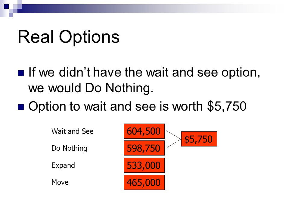 Real Options If we didn't have the wait and see option, we would Do Nothing.