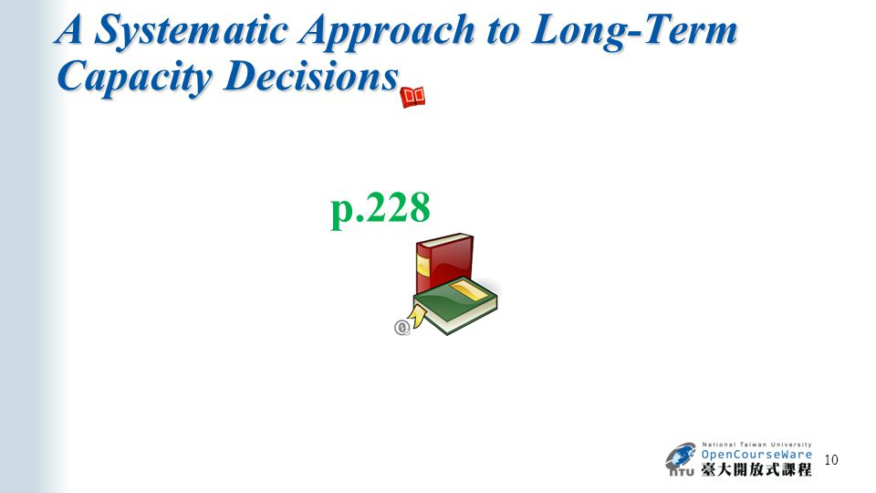 A Systematic Approach to Long-Term Capacity Decisions 10 p.228