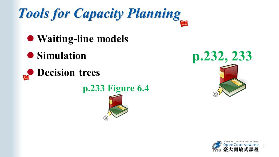 Tools for Capacity Planning 11 p.232, 233 Waiting-line models Simulation Decision trees p.233 Figure 6.4