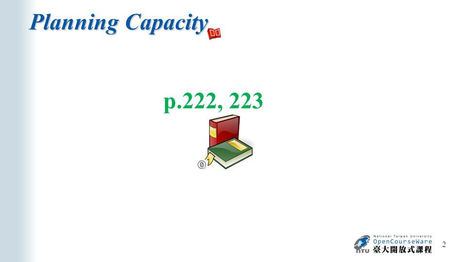 Planning Capacity 3 p.222 Capacity management  Capacity planning (long-term)  Constraint management (short-term)