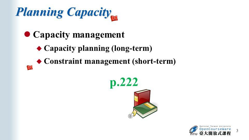 Measures of Capacity and Utilization 4 p.223, 224 Utilization =  100% Average output rate Maximum capacity Output measures Input measures Utilization