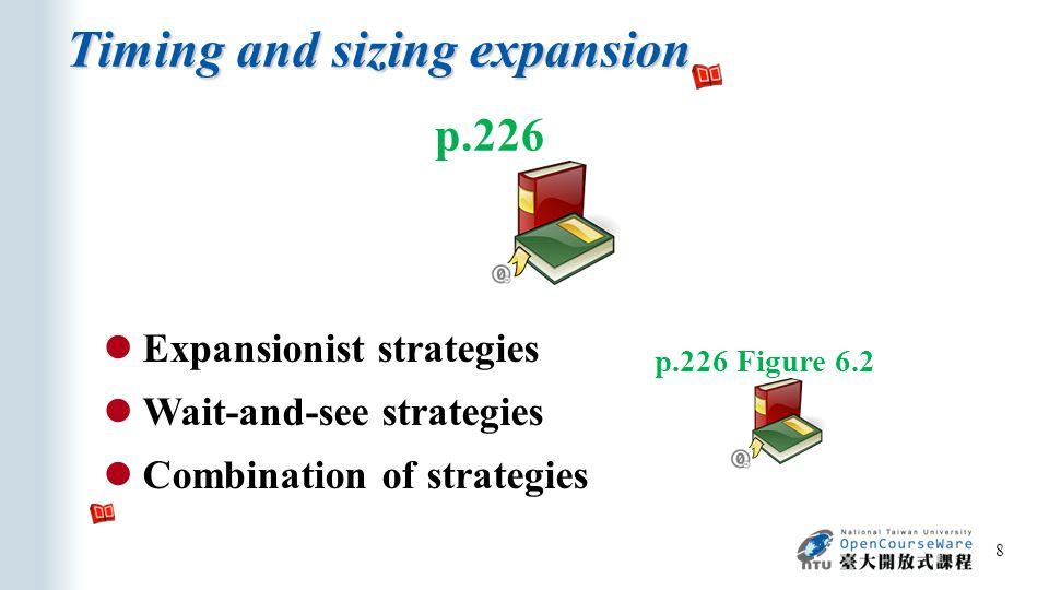 Timing and sizing expansion 8 p.226 Expansionist strategies Wait-and-see strategies Combination of strategies p.226 Figure 6.2