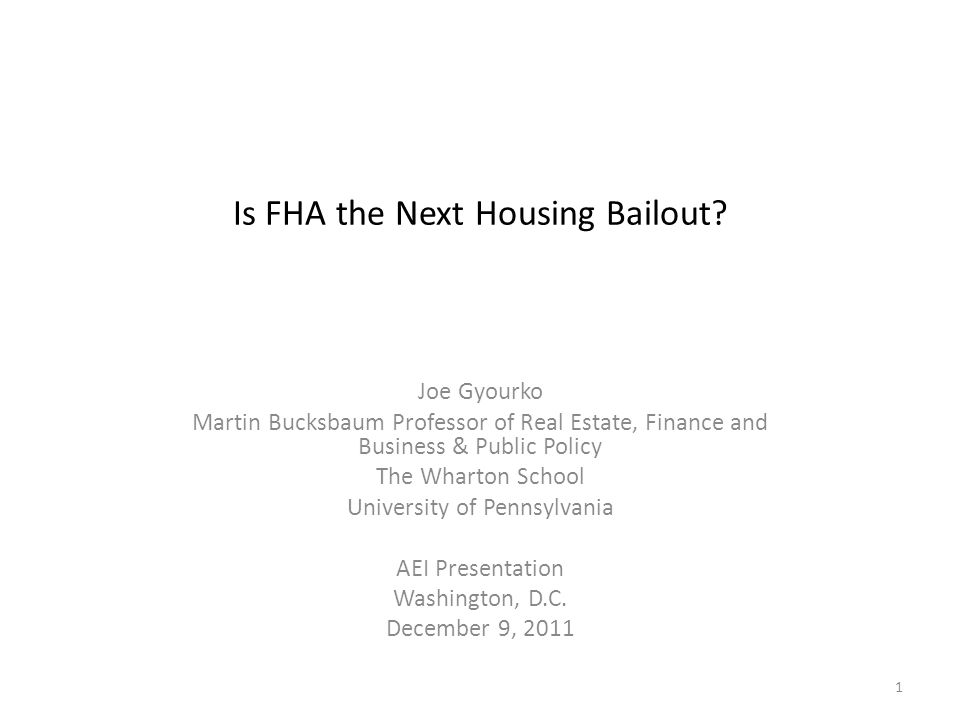 Is FHA the Next Housing Bailout.