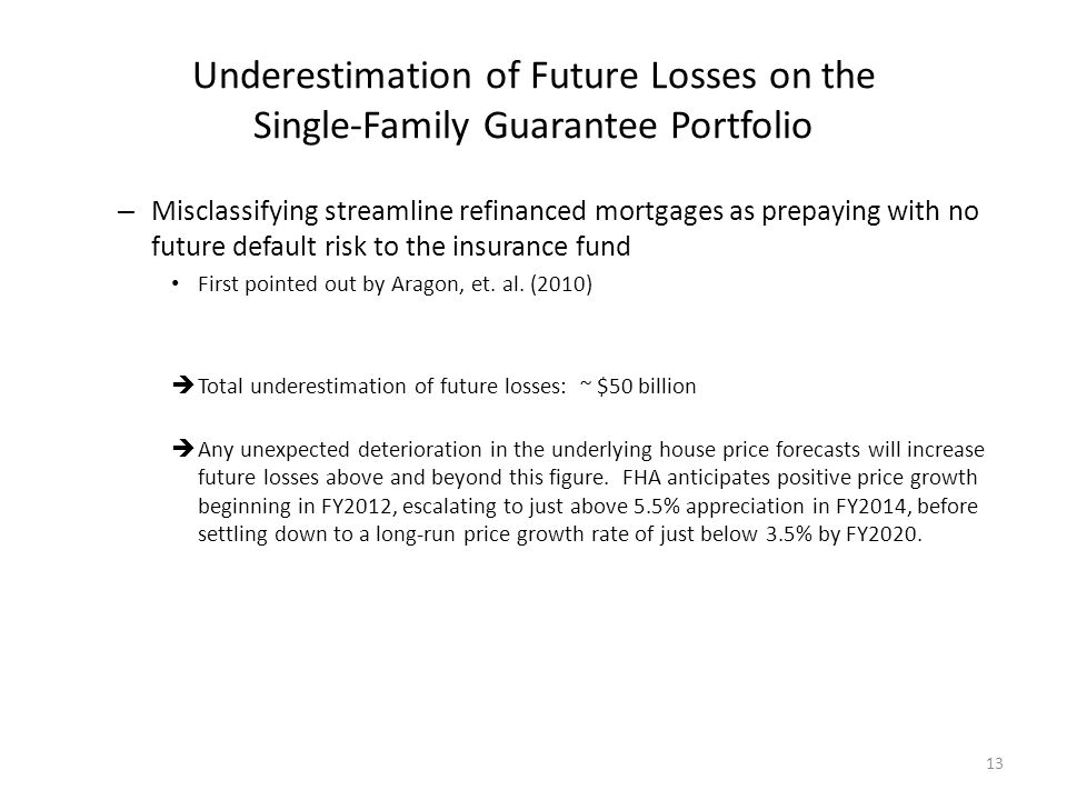 Underestimation of Future Losses on the Single-Family Guarantee Portfolio – Misclassifying streamline refinanced mortgages as prepaying with no future default risk to the insurance fund First pointed out by Aragon, et.