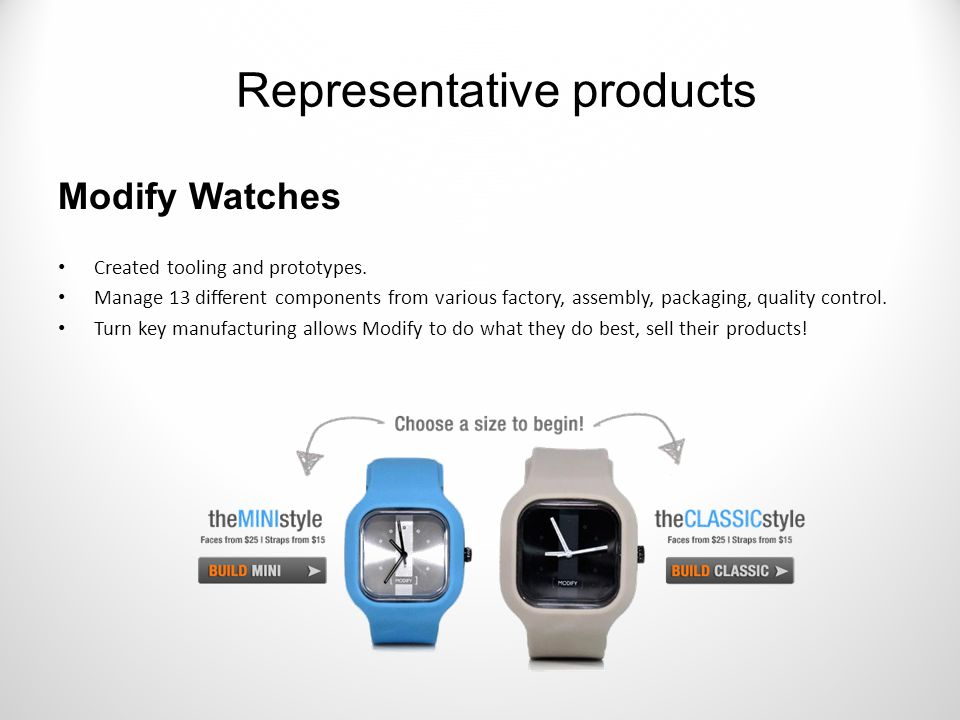 Modify Watches Created tooling and prototypes.