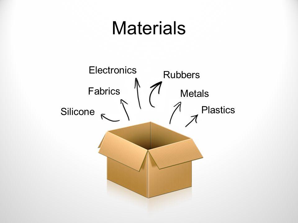 Materials Metals Plastics Rubbers Silicone Fabrics Electronics