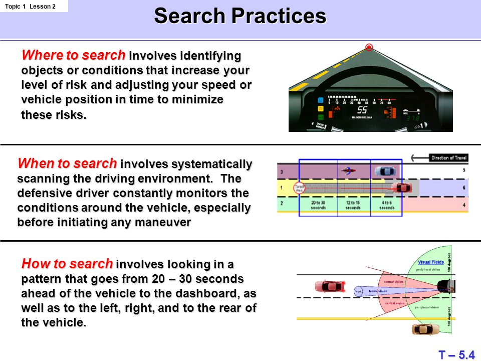 Search Practices Topic 1 Lesson 2 Where to search involves identifying objects or conditions that increase your level of risk and adjusting your speed or vehicle position in time to minimize these risks.