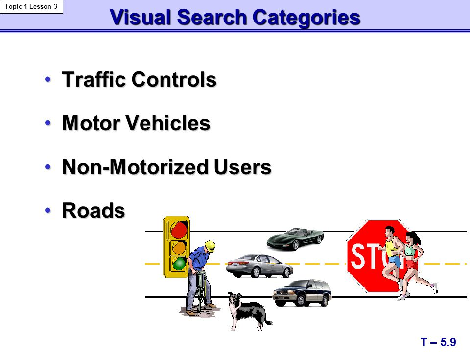 Traffic ControlsTraffic Controls Motor VehiclesMotor Vehicles Non-Motorized UsersNon-Motorized Users RoadsRoads Visual Search Categories T – 5.9 Topic 1 Lesson 3