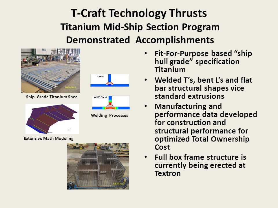 """T-Craft Technology Thrusts Titanium Mid-Ship Section Program Demonstrated Accomplishments Fit-For-Purpose based """"ship hull grade"""" specification Titani"""