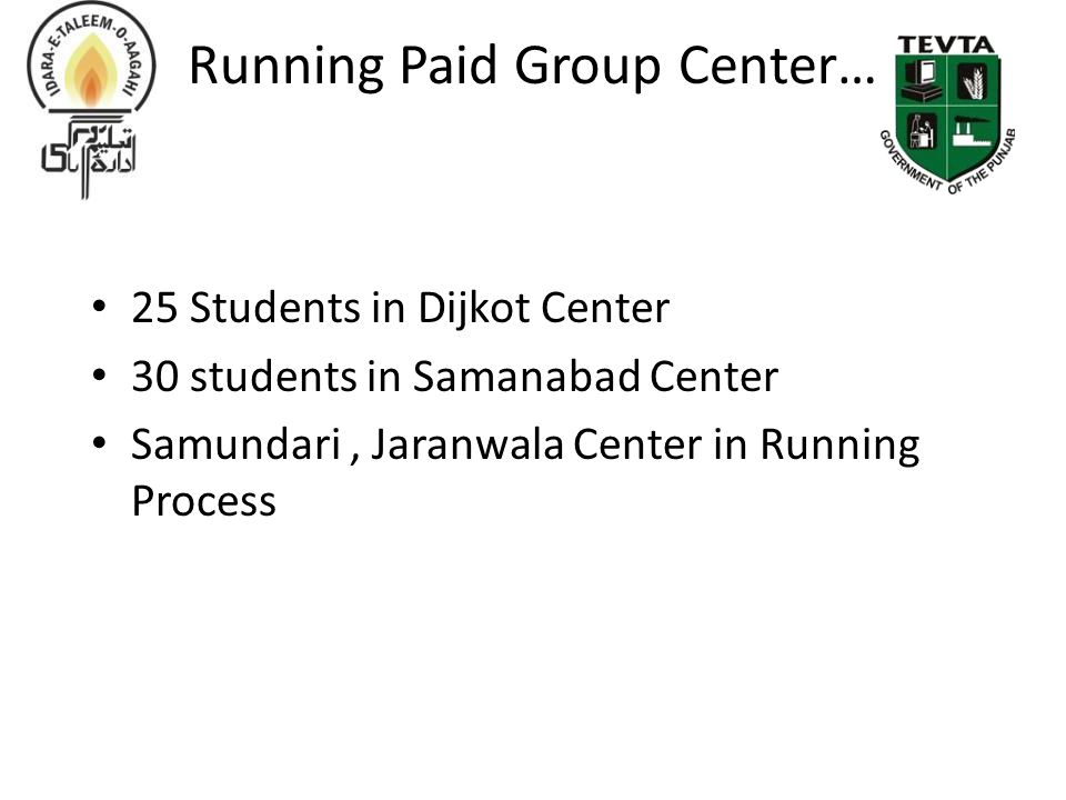 Running Paid Group Center… 25 Students in Dijkot Center 30 students in Samanabad Center Samundari, Jaranwala Center in Running Process