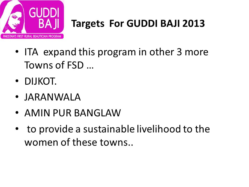 Targets For GUDDI BAJI 2013 ITA expand this program in other 3 more Towns of FSD … DIJKOT.