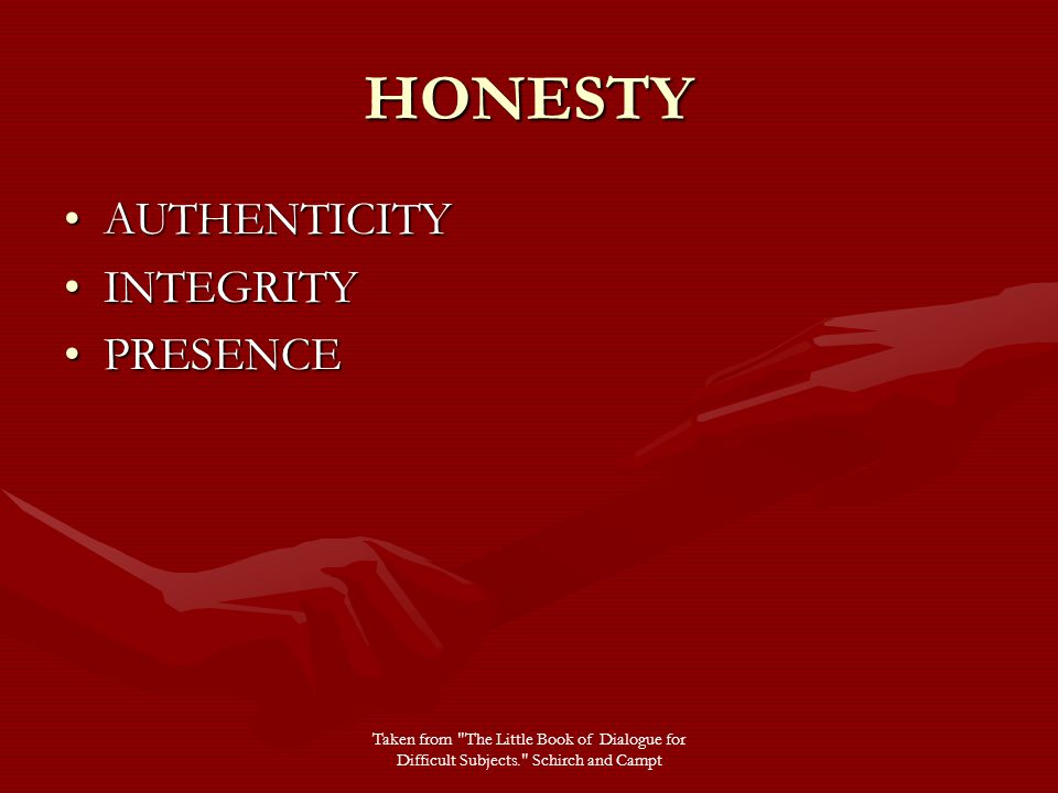 HONESTY AUTHENTICITYAUTHENTICITY INTEGRITYINTEGRITY PRESENCEPRESENCE Taken from The Little Book of Dialogue for Difficult Subjects. Schirch and Campt