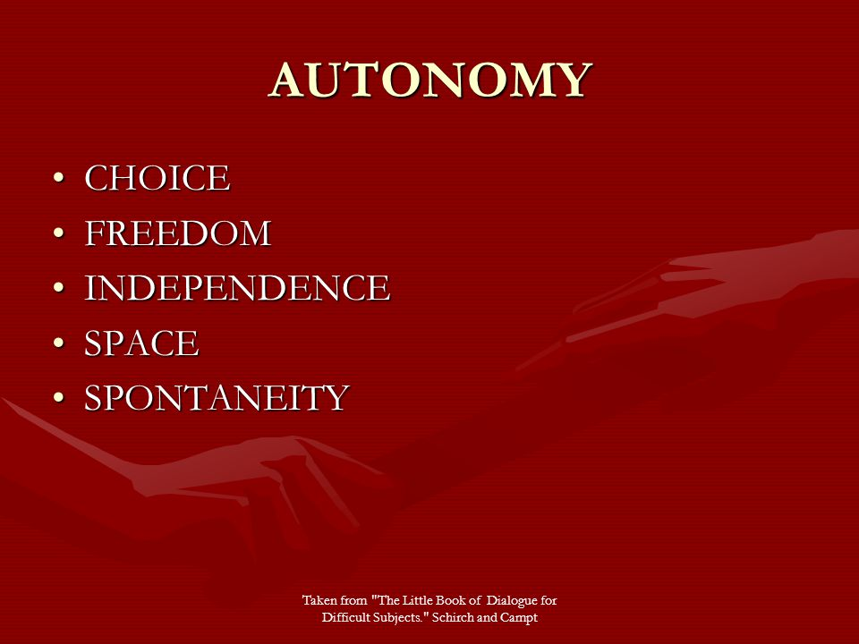 AUTONOMY CHOICECHOICE FREEDOMFREEDOM INDEPENDENCEINDEPENDENCE SPACESPACE SPONTANEITYSPONTANEITY Taken from The Little Book of Dialogue for Difficult Subjects. Schirch and Campt