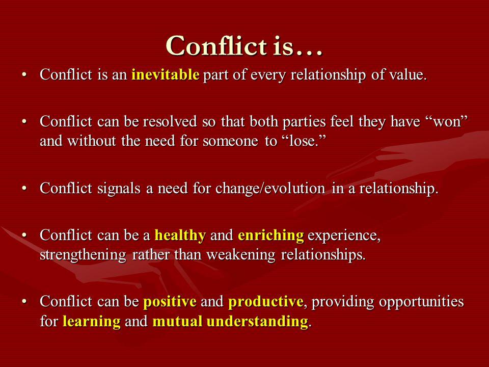 Reframing Negative Mindsets Conflict is … RewardingInevitableHealthy StimulatingOpportunityGrowth Positive ChangeCreativeWin/Win HelpfulEnrichingLearning ConstructiveUnifyingExciting CollaborativeVital Productive