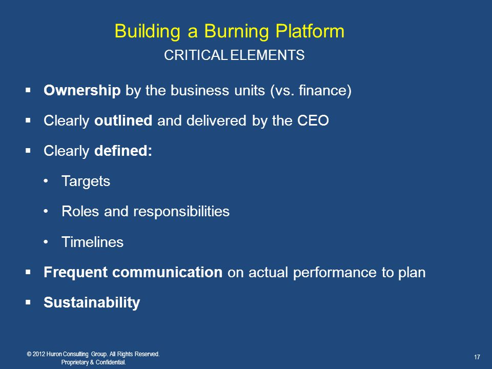 Building a Burning Platform CRITICAL ELEMENTS  Ownership by the business units (vs. finance)  Clearly outlined and delivered by the CEO  Clearly de
