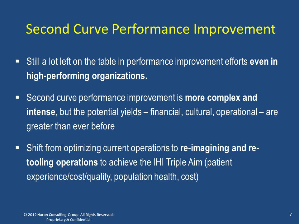 Second Curve Performance Improvement  Still a lot left on the table in performance improvement efforts even in high-performing organizations.  Secon