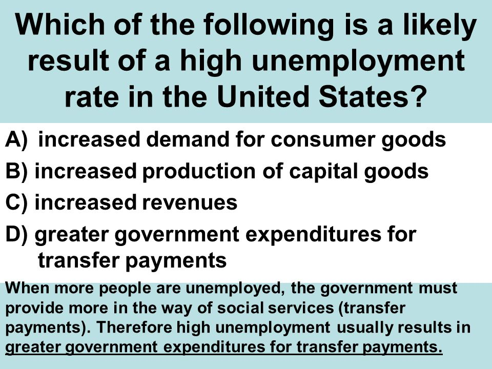 Which of the following is a likely result of a high unemployment rate in the United States.
