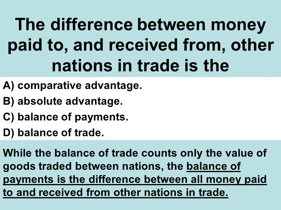 The difference between money paid to, and received from, other nations in trade is the A) comparative advantage.