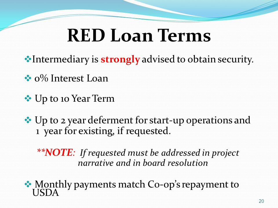 RED Loan Terms  Intermediary is strongly advised to obtain security.  0% Interest Loan  Up to 10 Year Term  Up to 2 year deferment for start-up op