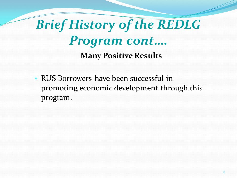 Brief History of the REDLG Program cont…. 4 Many Positive Results  RUS Borrowers have been successful in promoting economic development through this