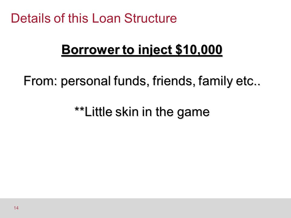 Details of this Loan Structure 14 Borrower to inject $10,000 From: personal funds, friends, family etc.. **Little skin in the game