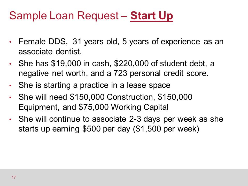 Sample Loan Request – Start Up Female DDS, 31 years old, 5 years of experience as an associate dentist. She has $19,000 in cash, $220,000 of student d