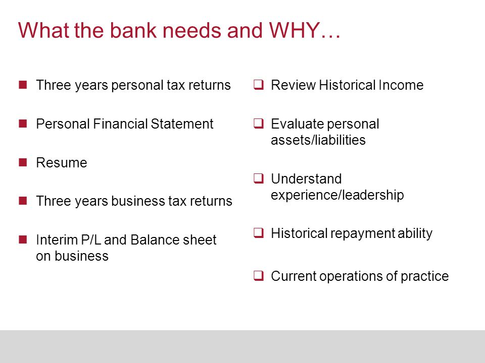 What the bank needs and WHY… Three years personal tax returns Personal Financial Statement Resume Three years business tax returns Interim P/L and Bal
