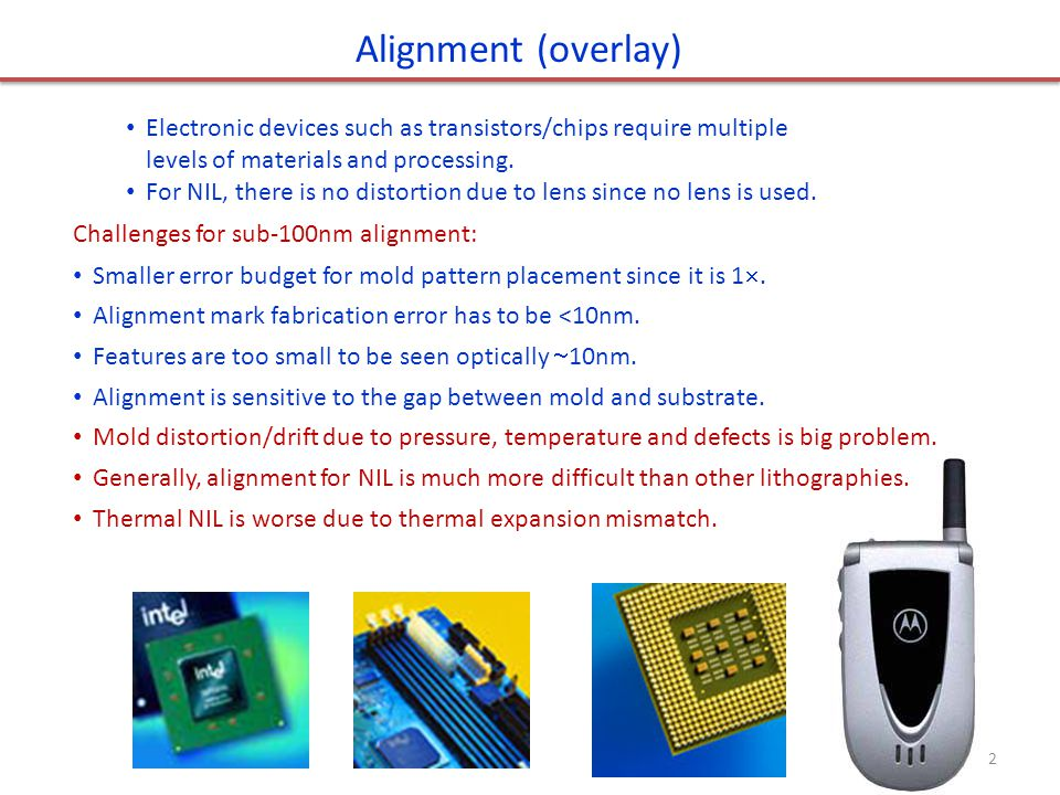 Possible alignment methods Direct imaging, as in optical lithography.