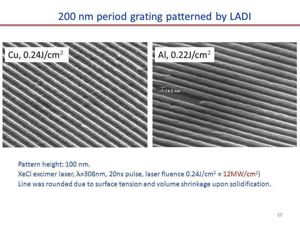200 nm period grating patterned by LADI Pattern height: 100 nm.