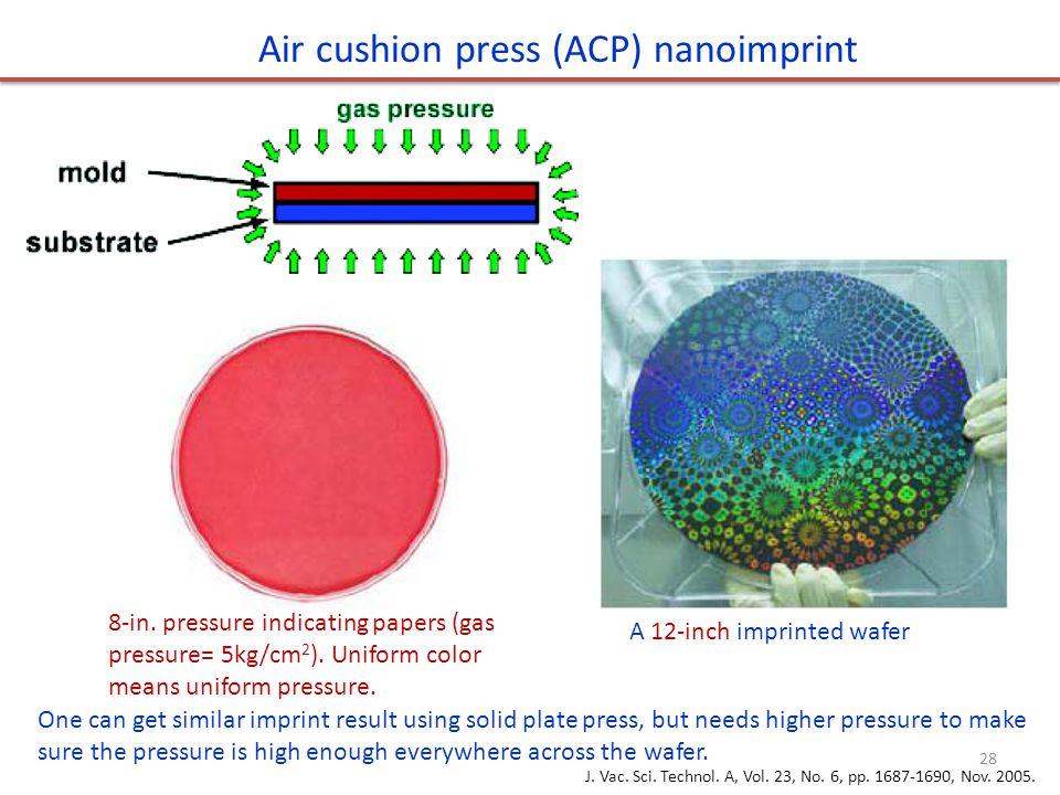 Air cushion press (ACP) nanoimprint 8-in. pressure indicating papers (gas pressure= 5kg/cm 2 ). Uniform color means uniform pressure. A 12-inch imprin