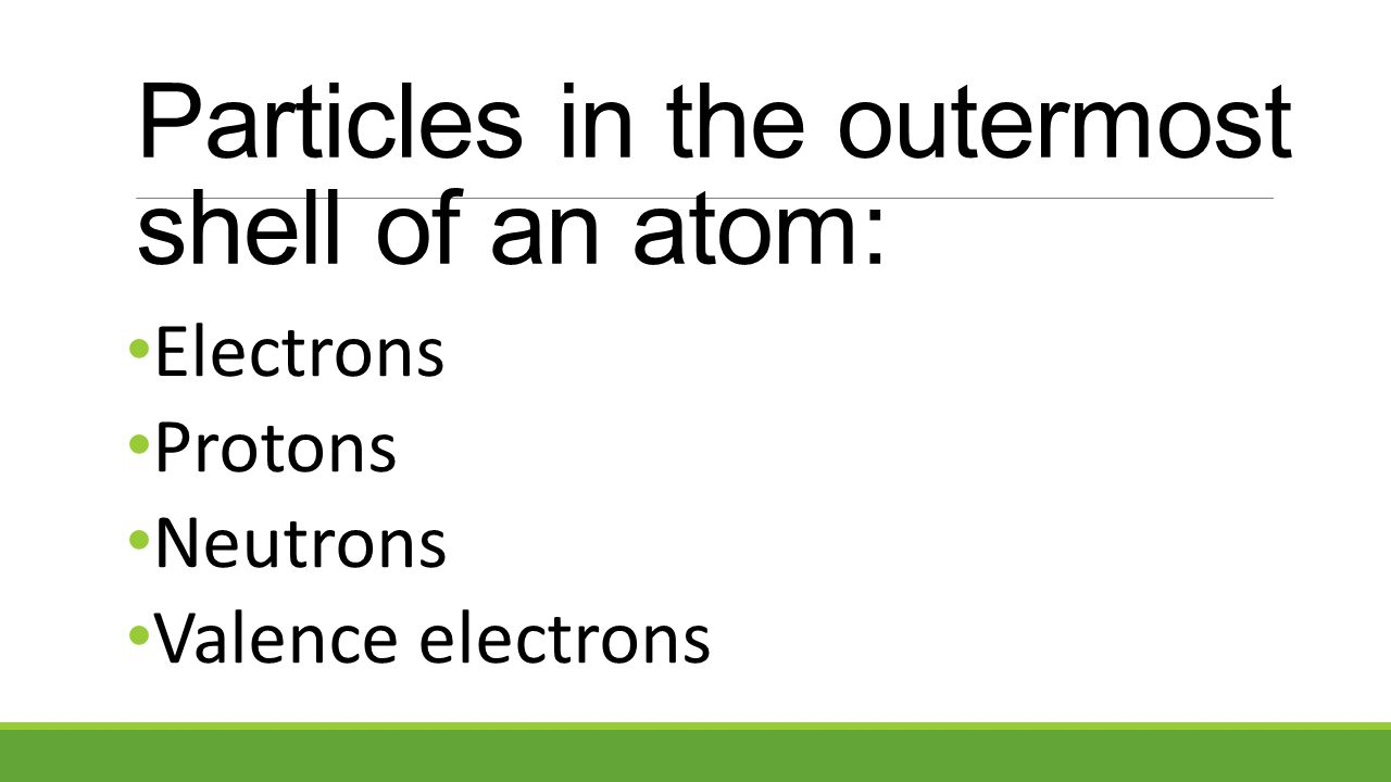 Electrons Protons Neutrons Valence electrons Particles in the outermost shell of an atom: