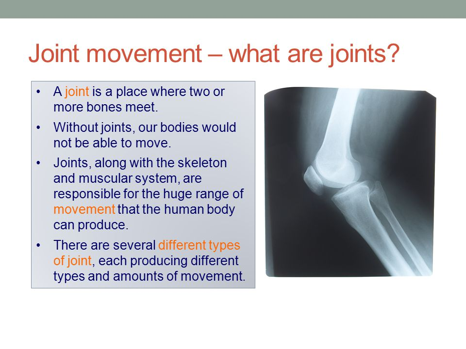 Joint movement – what are joints? A joint is a place where two or more bones meet. Without joints, our bodies would not be able to move. Joints, along