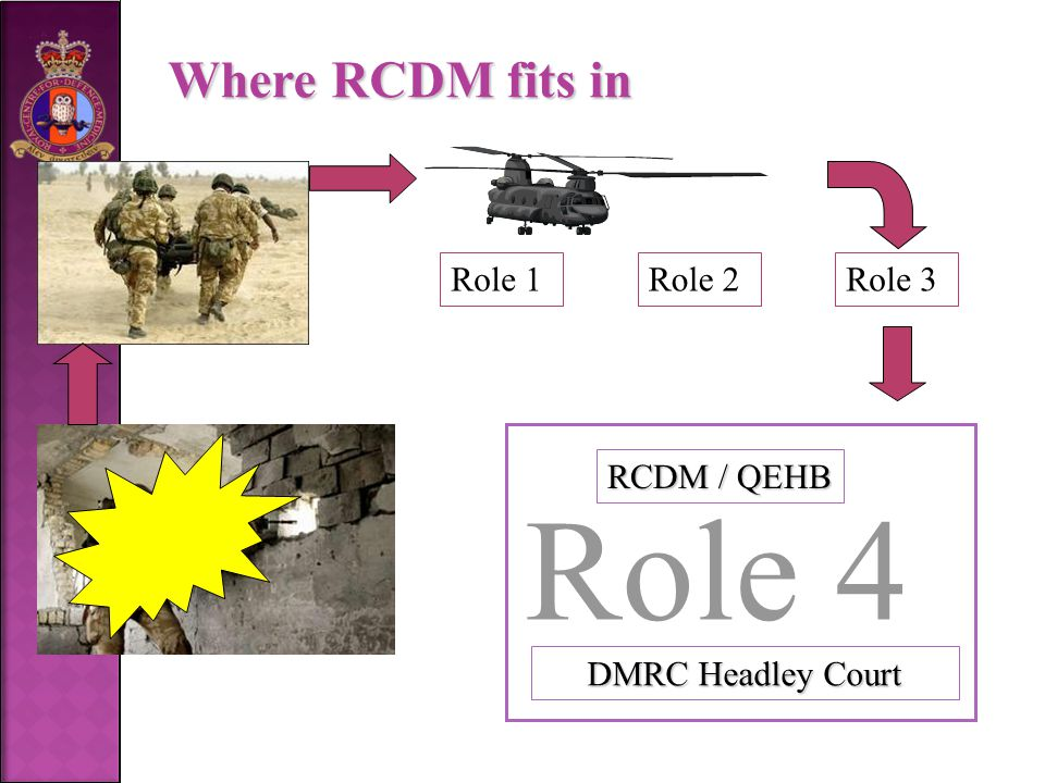 Role 1Role 2Role 3 RCDM / QEHB DMRC Headley Court Where RCDM fits in Role 4