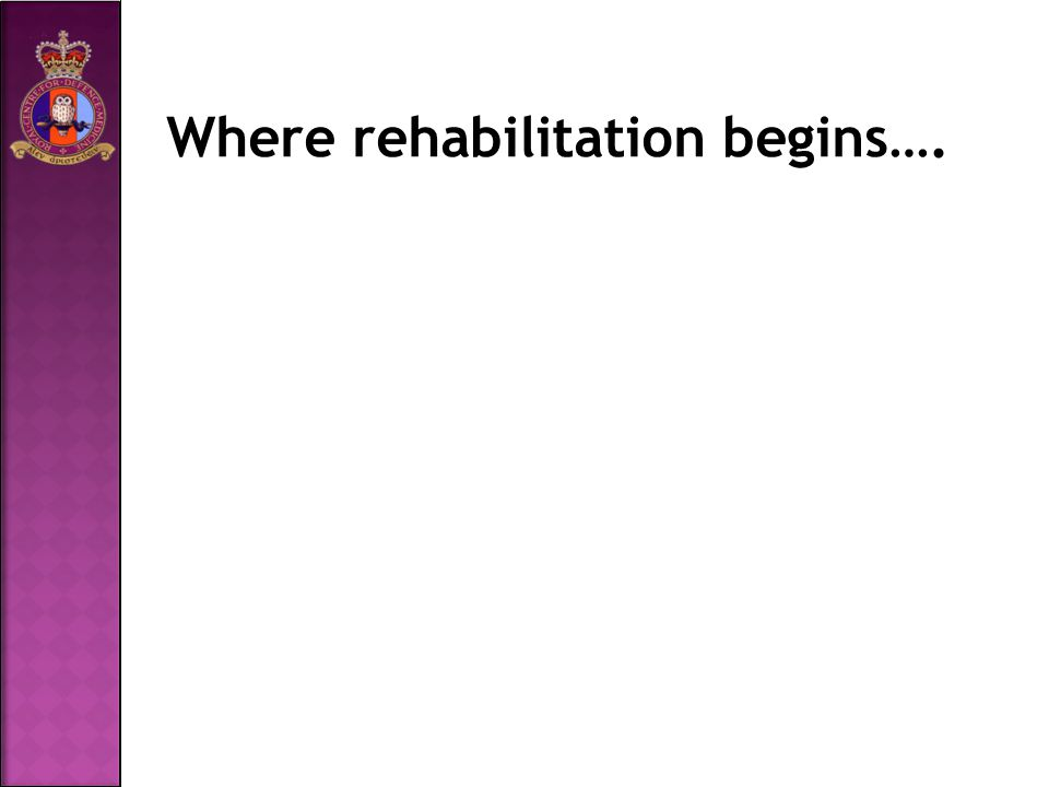 Where rehabilitation begins….