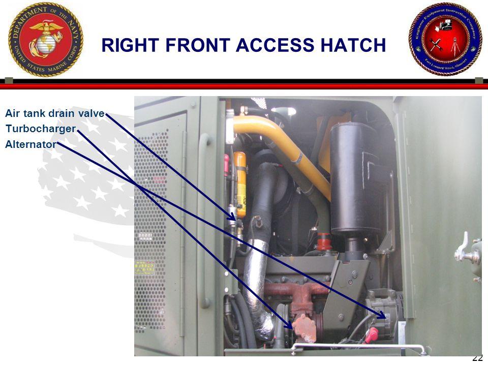 22 Air tank drain valve Turbocharger Alternator RIGHT FRONT ACCESS HATCH