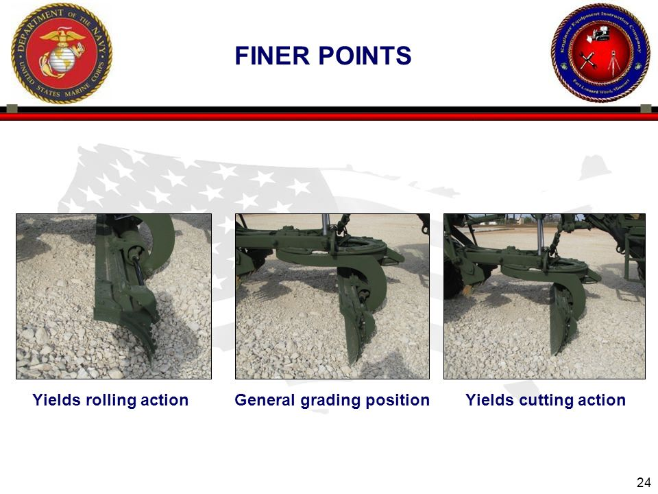 24 Yields rolling action General grading position Yields cutting action FINER POINTS