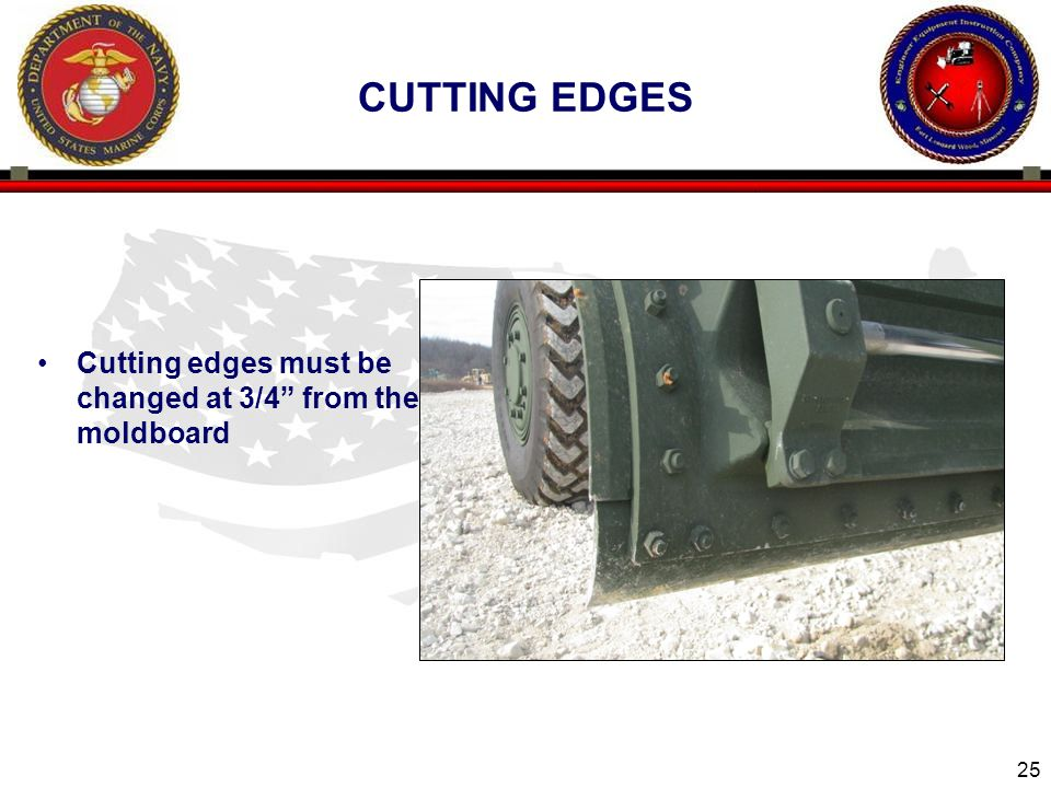 """25 CUTTING EDGES Cutting edges must be changed at 3/4"""" from the moldboard"""